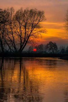 Beautiful sunrise/sunset with tree and water reflecting beauty Amazing Sunsets, Amazing Nature, Beautiful World, Beautiful Images, Landscape Photography, Nature Photography, Photography Ideas, Scenic Photography, Foto Picture