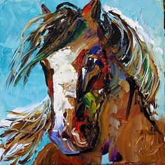Summer Horse 42 by Texas Artist Laurie Pace 100 Horse Paintings for 100 Days for $100 each, painting by artist Laurie Justus Pace