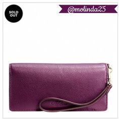 Coach Slim Wallet  100% Authentic Coach Slim Wallet in pebble leather. Color: Plum. Credit card & multifunction pockets. Full-length billfold compartment. Snap closure, fabric lining, wrist strap attached.  No Trades or PP. REASONABLE OFFERS ARE WELCOME  MSRP: $150 + Tax Coach Bags Wallets