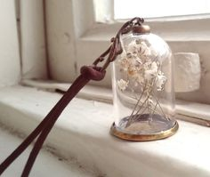 Terrarium Bottle Necklace with Real Flowers by MieMoeShop on Etsy