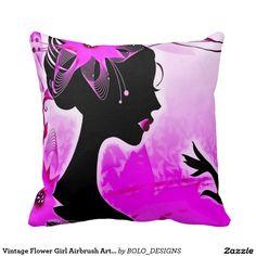 Vintage Flower Girl Airbrush Art Throw Pillow