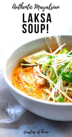 Laksa Soup - A super flavorful Malaysian-style coconut curry noodle soup, with your choice of chicken or shrimp ( or both) over rice noodles topped with fresh bean spouts, lime and cilantro. Laksa Soup Recipes, Laksa Recipe, Healthy Thai Recipes, Asian Recipes, Ethnic Recipes, Easy Recipes, Popular Recipes, Coconut Curry Soup, Rice Noodles