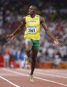 Usain Bolt winning the 100 meters race at London Olympics, 2012.
