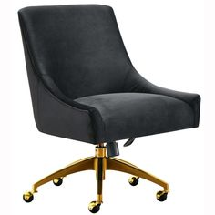 Sit pretty in this sumptuous yet durable velvet chair. The Beatrix swivel chair dazzles as a desk chair or as an accent piece. Available in green, grey, black or navy with a fab gold swivel steel base. Prop it into any room for a luxe, glamour effect. Living Room Chairs, Dining Chairs, Desk Chairs, Lounge Chairs, Camp Chairs, Ikea Chairs, Salon Chairs, Rocking Chairs, Dining Rooms