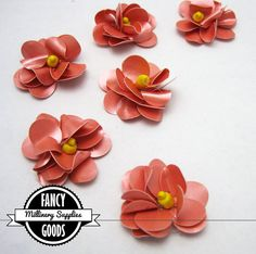 6  Small  Dusty Pink / Yellow  Flower  Appliques by fancygoods, $2.50