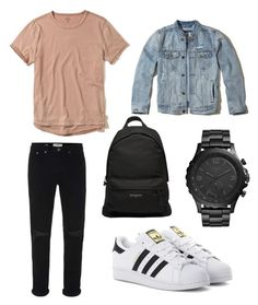 """Untitled #88"" by wleners on Polyvore featuring Topman, Hollister Co., adidas Originals, Balenciaga, FOSSIL, men's fashion and menswear"