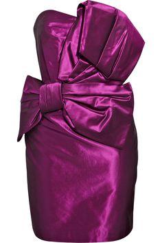 Notte By Marchesa Bow-Embellished Silk-Taffeta Dress