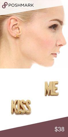 kate spade ♠️ kiss me stud earrings NWT - Sweet 'Kiss Me' lettering details asymmetrical Kate Spade New York earrings. kate spade Jewelry Earrings