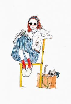 Nib.'s Scrapbook...☝︎ People Illustration, Watercolor Illustration, Animal Drawings, Art Drawings, Character Inspiration, Character Design, Pastel Art, Art Techniques, Cute Cartoon