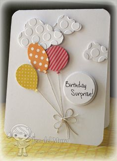 Awesome CAS card featuring YNS balloon and cloud dies