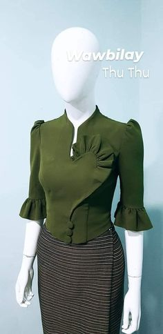 Traditional Dresses Designs, Traditional Outfits, Blouse Styles, Blouse Designs, Myanmar Dress Design, Stylish Blouse Design, Crop Top Outfits, Blouses For Women, Marie