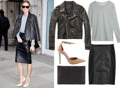 9 Star-Inspired Outfits to Wear to Work This Fall - Lightweight Tee + Leather Pencil from #InStyle