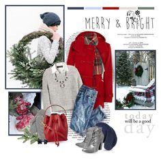 """""""Merry & Bright"""" by helleka on Polyvore featuring Prada, Hunter, Polo Ralph Lauren, H&M, J.Crew, Isabel Marant, Bar III, Steve Madden, The North Face and Sophie Hulme"""