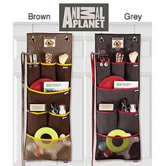 Storage idea: over the door Animal Planet Hanging Pet Organizer / great for other small things.