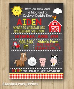 Farm Boy Birthday Invitation, Farm Invitation