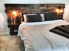 Rustic Headboard, Reclaimed Headboard, Queen Headboard, Rustic Lights, Shelves, Wood Headboard, Bed Set by CECustoms on Etsy https://www.etsy.com/listing/287684759/rustic-headboard-reclaimed-headboard