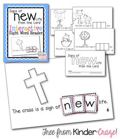 Use this FREE Interactive Sight Word Reader in your Christian kindergarten class to help teach your students about Jesus rising from death into a new life! Religion Activities, Teaching Religion, Catholic Religion, Sight Word Readers, Emergent Readers, Emergent Literacy, Church Crafts, Catholic Crafts, Classroom Freebies