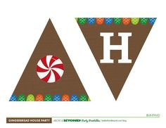 Add festive flair with our free party printables. The Gingerbread House Party collection includes flag bunting (banner), cookie decoration boxes, placemats, a sign for your bar, swizzle flags for cocktails or cupcakes (just glue to a toothpick), table cards, signs, and wraps for your drink cups. (Note: The full color table cards print best on thicker stock paper).