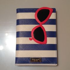 kate spade passport case Kate spade - Brand New passport case. Royal blue and white stripes with fun red sunglasses on top. kate spade Accessories Key & Card Holders