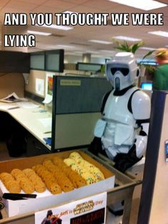 Funny pictures about The Dark Side Does Have Cookies. Oh, and cool pics about The Dark Side Does Have Cookies. Also, The Dark Side Does Have Cookies photos. Star Wars Witze, Star Wars Jokes, Starwars, Haha, The Force Is Strong, Love Stars, Geek Culture, Clone Wars, Dark Side