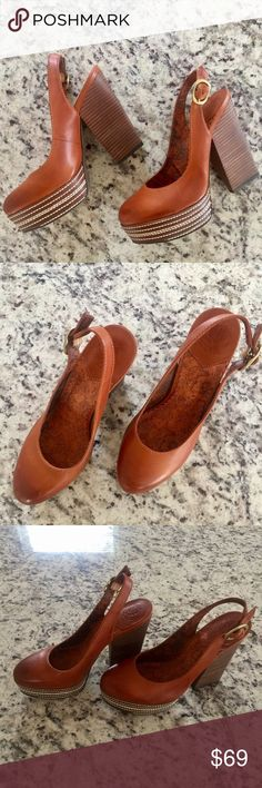 Lucky Brand Slingback Heels in Tan. Size 7 New Lucky Brand Slingback platform Heels in Tan. Size 7 New. Beautiful!!! Factory distressed. No box Lucky Brand Shoes Platforms