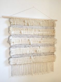 Extra large woven wall hanging weaving Roving wool by Rowanstudios