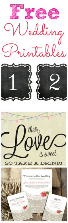 Free printables for a your wedding.