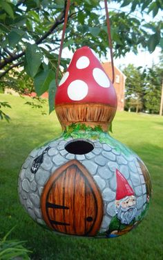 Gnome Home Handpainted Birdhouse Gourd by BostfulBits on Etsy, $65.00