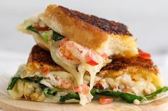 Saving the best for last? Perhaps. To make this Foodie Crush version, make a mixture of Mascarpone cheese, scallions and tomatoes, layer atop country-style white bread, then add Provolone, arugula and lobster before grilling.