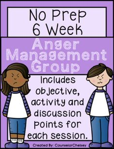 A 6 session, no-prep, social skills group plan focused on anger management. Each session includes an objective, discussion points and an activity. Also includes a 6 item survey to measure growth and two bonus activities. Table of Contents: p.3: General Group Hints p.4: Survey for