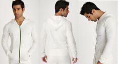 Men's Crossover Hoodie for Yoga & Fitness (White)