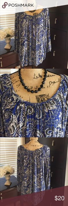 Michael Kors Boho Tunic Beautiful black, white and gray paisley design on royal blue background. Sleeves and bottom has elastic. Very comfortable. Would be pretty with black, gray or white pants or skirt. EUC. Size L. Please ask any questions. Perfect for Fall transition top Michael Kors Tops Blouses