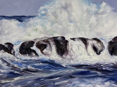 Storm Watching 30 x 40 inch oil on canvas by Terrill Welch  Large contemporary seascape painting.