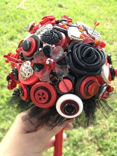 Red and Black Button Bouquet - Goth Halloween Vampire Wedding Bridal Bouquet by celticbubblewands.com, $175.00