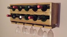 Upcycled  Rustic Wall Mounted Pine wine rack, 10 wine bottle holder.
