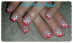 Nails done by Angelique Allegria. #Coral #French #white #lace #nailArt #BeUnique @angiedsa