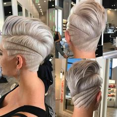 "16.7k Likes, 280 Comments - behindthechair.com (@behindthechair_com) on Instagram: ""* Silvery Chic ... by @tuanh2osalon ・・・ Pixie with new undercut design #behindthechair…"""