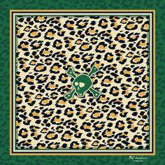 Emerald Feline, a Designer Silk Scarf by BCbandana
