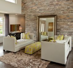 Living Room, Modern Minimalist Living Room Decoration Ideas With Large Wall Mirror And Brick Wall: Beautify Living Room Wall with Wall Mirrors