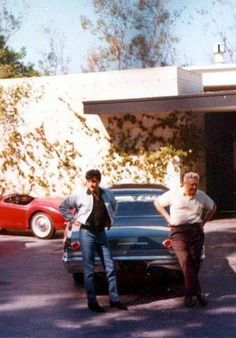 Rare: Elvis and Vernon 1967 standing outside His California Home.