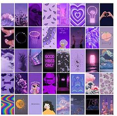 Wall Collage Kit Purple Aesthetic - VSCO Teen Girls Bedroom Dorm Decor 40 Set 4x6 inch Photo Collection Wall Art Collage Kit Print Small Posters