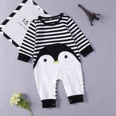 Baby/ Toddlers One Piece Penguin Striped Print Jumpsuit – TYChome Baby Boy Jumpsuit, Baby Dress, Baby Girl Fashion, Kids Fashion, Vintage Baby Clothes, Jumpsuits For Girls, Baby Bloomers, One Piece Outfit, Unisex Baby
