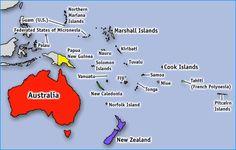 Australia, fiji, Kiribati, Marshall island, papua new guinea, samoa, feclerated state of micronesia, nauru, tuvalu, vanuatu, new Zealand, palau, solomon, tonga