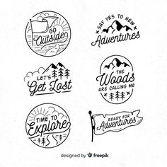 Adventure Logos, Adventure Travel, Adventure Time, Logo Voyage, Hand Drawn Logo, Travel Logo, Silhouette Design, Banners, Vector Free