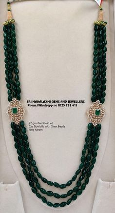 Pearl Necklace Designs, Beaded Jewelry Designs, Gold Jewellery Design, Bead Jewellery, Beaded Necklace, Emerald Necklace, Gold Jewelry, Ruby Jewelry, India Jewelry