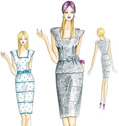Misses' Fitted Sleeveless Dresses Dress Illustration, Beauty Illustration, Fashion Sewing, Fashion Art, Fashion Beauty, Marfy Patterns, Dress Patterns, Classy Suits, Couture Sewing