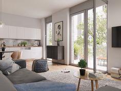 #Bodentiefe_Fenster lösen die Grenze zwischen Außen- und Innenbereich. Jede Wohnung verfügt über eine eigene Terrasse oder einen Balkon - die Erdgeschosseinheiten überzeugen nicht zuletzt durch ihre charmanten #Privatgärten.
