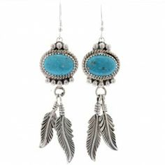 f21185168 Turquoise Feather Navajo Earrings French Hook Dangles 0006