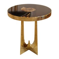 Brass and Resin Side Table with Ammonite Inclusion by Adam T. Hebb