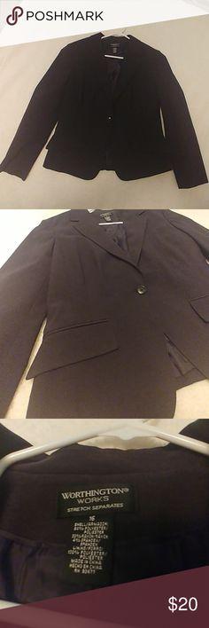 Women's dark gray blazer NWOT Dark grey, size 16, single button front Worthington Tops